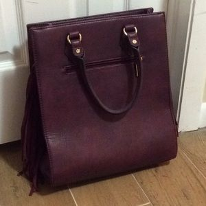 Burgundy Fringed Purse